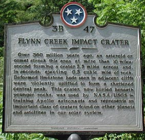 road side marker for Flynn Creek crater